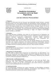 Staatlichen Schulämtern im Landkreis und in der Stadt Regensburg ...