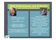IBSE Definitionen und Kriterien nach Justin Dillon und Wynne Harlen
