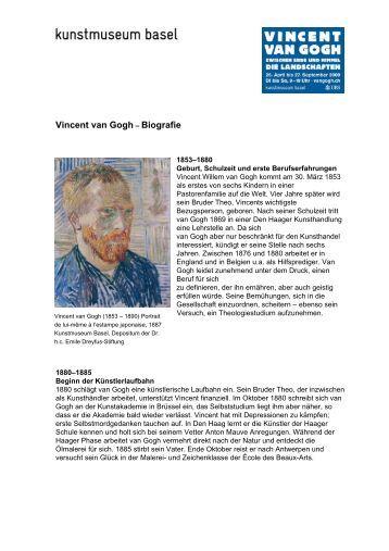 vincent van gogh biografie - Van Gogh Lebenslauf
