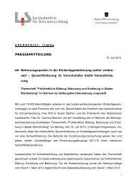 Pressemitteilung - Landesbildungsserver Baden-Württemberg