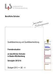 Fremdevaluation an beruflichen Schulen in Baden-Württemberg ...