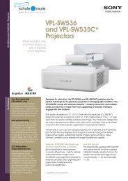 VPL-SW536 and VPL-SW535C* Projectors - AG für Schule & Raum