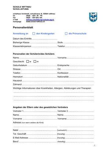 Personalienblatt Neuanmeldung (PDF) - Schule Wittnau