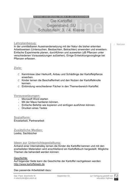 Die Kartoffel Gegenstand: SU Schulstufe/n: 3. / 4. Klasse - Schule.at