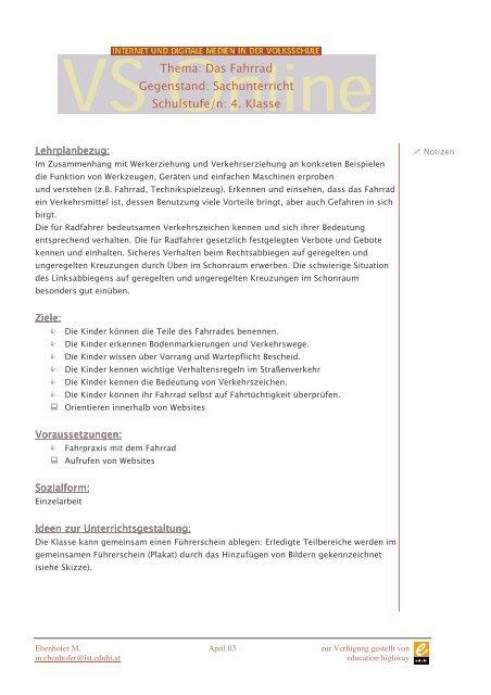 Das Fahrrad Gegenstand: Sachunterricht Schulstufe/n: 4 ... - Schule.at