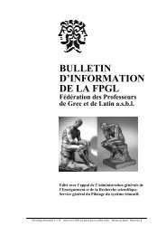 BULLETIN D'INFORMATION DE LA FPGL - Schule.at