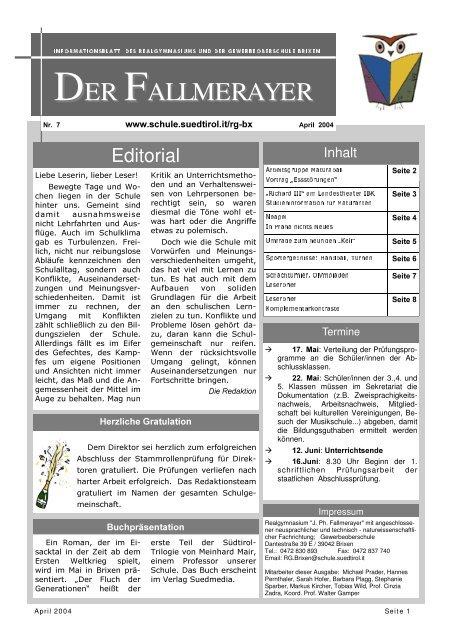 April 04 - Kindergarten und Schule in Südtirol