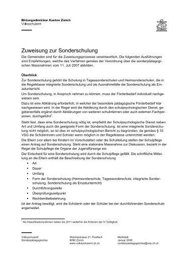Zuweisung zur Sonderschulung - Schule Winterthur