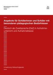 Deutsch als Zweitsprache in Aufnahmeunterricht ... - Schule Winterthur