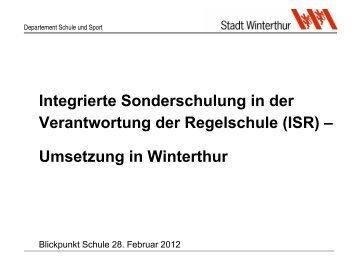 Integrierte Sonderschulung in der ... - Schule Winterthur
