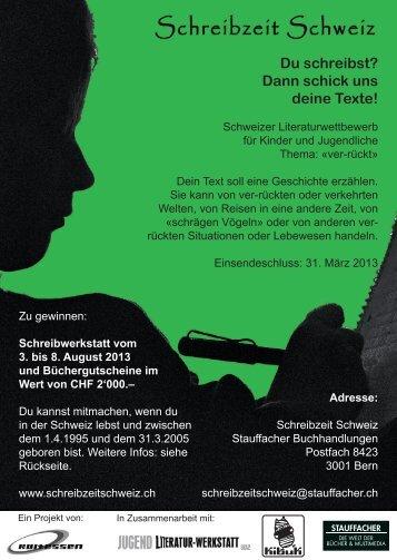 Schreibwettbewerb 2013 - Schreibzeit Schweiz