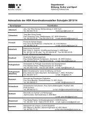 Adressliste der HSK-Koordinationsstellen Schuljahr 2012/13