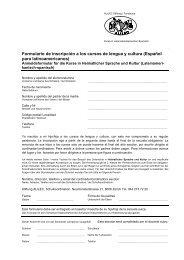 Formulario de inscripción a los cursos de lengua y cultura (Español ...