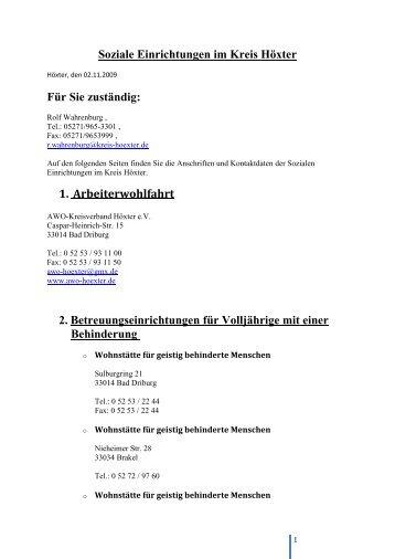 Soziale Einrichtungen im Kreis Höxter Für Sie ... - Brede online