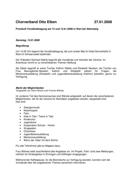 Wart 2008 Protokoll - Chorverband Otto Elben eV