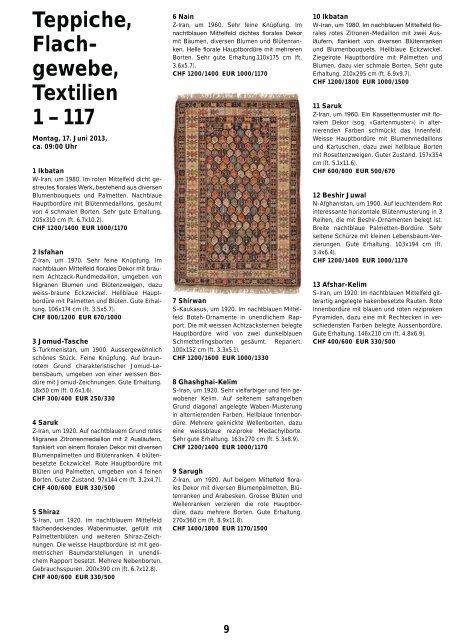 Teppiche, Flach- gewebe, Textilien 1 – 117 - Schuler Auktionen