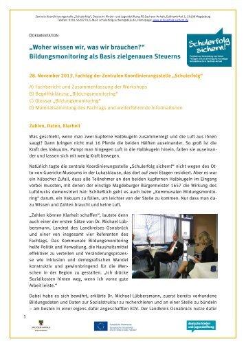 Dokumentation des Fachtags - Schulerfolg sichern!