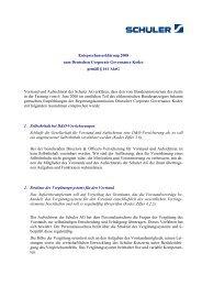 Entsprechenserklärung 2008 zum Deutschen ... - Schuler AG