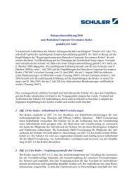 Entsprechenserklärung 2010 zum Deutschen ... - Schuler AG