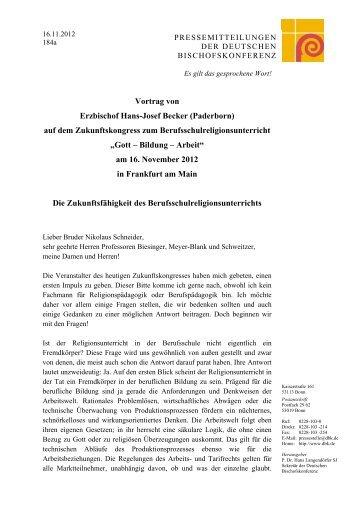 Vortrag von Erzbischof Hans-Josef Becker - Erzbischöfliches ...