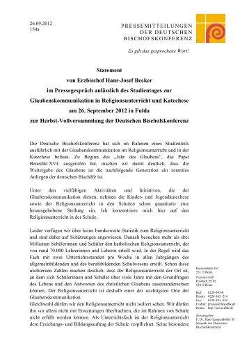Statement von Erzbischof Hans-Josef Becker - Bundesverband der ...