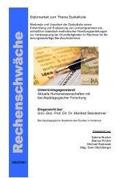 Diplomarbeit zum Thema Dyskalkulie - Schule & Gesundheit