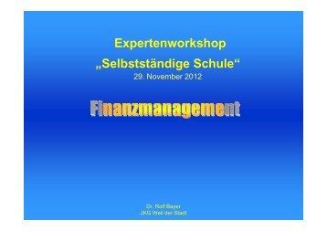 Forum II Finanzmanagement - Dr. Rolf Bayer - Schule Wirtschaft BW