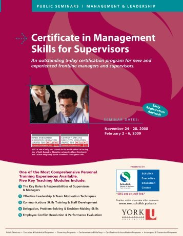 Certificate in Management Skills for Supervisors - Schulich School of ...