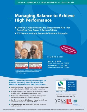 Managing Balance to Achieve High Performance - Schulich School ...