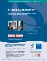 Strategic Management - Schulich School of Business - York University