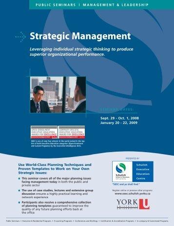 Strategic Management - Schulich School of Business - York University