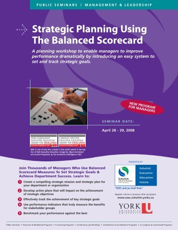Strategic Planning Using The Balanced Scorecard - Schulich School ...