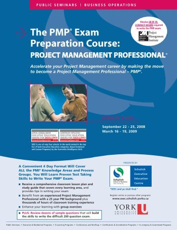 PMP Exam Prep Course - Schulich School of Business - York ...