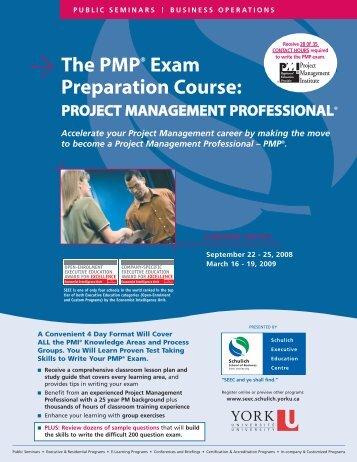 PMP Exam Prep Course - Schulich School of Business - York ...