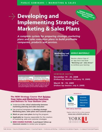 Developing and Implementing Strategic Marketing & Sales Plans