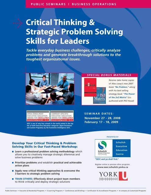 Critical Thinking Strategic Problem Solving Skills For Leaders