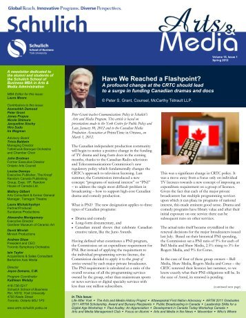 Arts and Media Newsletter 2012.pdf - Schulich School of Business ...