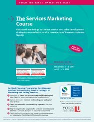 The Services Marketing Course - Schulich School of Business - York ...