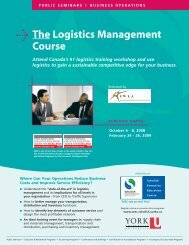 The Logistics Management Course - Schulich School of Business ...