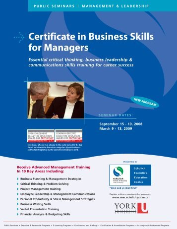Certificate in Business Skills for Managers - Schulich School of ...