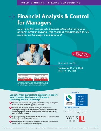 Financial Analysis & Control for Managers - Schulich School of ...
