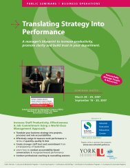 Translating Strategy Into Performance - Schulich School of Business ...