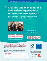 Creating and Managing the Innovative Organization: - Schulich ...
