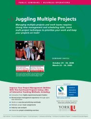 Juggling Multiple Projects - Schulich School of Business - York ...