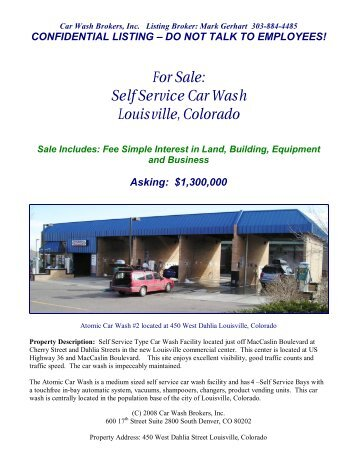 For Sale: Self Service Car Wash Louisville, Colorado - LoopNet