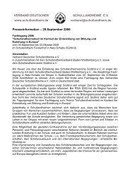 29.September 2006 - Verband Deutscher Schullandheime eV