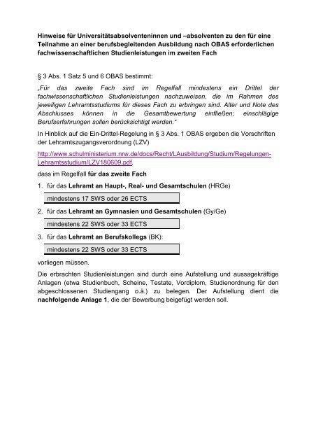 Anlage Zur Bewerbung Studienleistungen Schulministerium Nrw