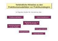 Allgemeine Hinweise zum pädagogisch-didaktischen Praktikum