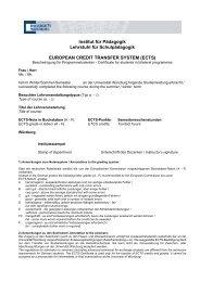 ECTS - Lehrstuhl für Schulpädagogik - Universität Würzburg