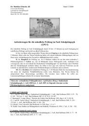 Anforderungen für die mündliche Prüfung im Fach Schulpädagogik ...